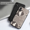 Genuine Leather Phone Case For iPhone X Case Natural Python Skin For  iPhone 6 6S 7 8 Plus X Back Cover