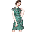 QUZIHUA 2018 New Summer Lexury Prom Dress Green Lace A-Line Vintage Knee-Length Dresses Beauty Women Summer Dress