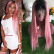 1B/Pink Color Full Lace Wig Glueless Virgin Hair Lace Front Human Hair Wigs With Natural Hairline ombre Pink Lace Wigs