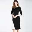 BURDULLY Women Patchwork Dress Long Sleeve Office Elegant Ladies Black White Dress 2018 Casual Spring Summer Dresses Long