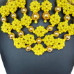 Handmade Yellow Multilayer Beaded Necklace African Wedding Beads Bridal Jewelry Set Women Party Nigerian Crystal Jewelry Set