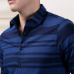 Red Bean Hodo Men's Long Sleeve Shirt Men's Casual Business Jacquard Cotton Fabric Small Square Collar Long Sleeve Shirt B1 Blue 180/96A