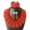 Red Skirt Bridal Wedding Necklace African Beaded Jewelry Nigerian Women Clothing Jewelry Set African Beads Jewelry Sets