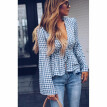 Try Everything Bandage Long Sleeve Blouse Women Summer 2018 Ruffle Plaid Shirt Women V-Neck Sexy Shirt Womens Blouses And Tops