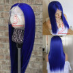 Brazilian Virgin Human Hair blue Lace Front Wig 130% Density Top Quality blue hair Glueless Lace Wig