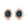 Yoursfs Sapphire Clip Earrings Circular Halo Navy Crystal 18k Rose GP Jewelry for Women