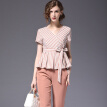 BURDULLY New Fashion 2018 Summer 2 Piece Set Women Pant And Top Work Striped Two Piece Set Top And Pants Office Clothes Styles