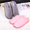 Side line winter new style cartoon stripe couples at home with half bag and warm moon cotton slippers winter cotton shoes