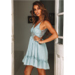 Try Everything Summer Backless Party Sexy Dress Women 2018 Cotton Blue Lace Patchwork Spaghetti Strap Dress Women A Line Dresses