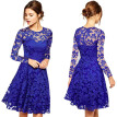 Women Elegant Solid Hallow Out Lace Mini Dress Vintage Sexy Strapless Tunic Zipper Party Princess Slim Vestidos