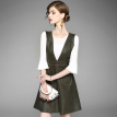 2018 New Women Office Lady Two Piece White Half Flare Sleeve + V-neck A-line Vest Dresses Female Suit Summer