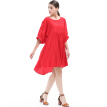 BURDULLY New 2018 Summer Large Size Dresses For Women Black Round Neck Dress Loose Casual Half Sleeve Mini Dress Big Size Red