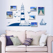 Removable Wall Sticker Blue Sailing Boat Tower Photo Art Decals Mural DIY Wallpaper for Room Decal 22.5 * 50cm