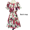 Fashion women's wear, spring and summer, new cotton printed short sleeved waistband shoulder dress