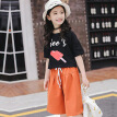 New Summer Girls Cotton Short Sleeve T-shirt + Loose Pants Sets For 3-14 Years Old