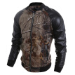 Zogaa New Men's Jacket 3D Printing PU Leather Spell Sleeve Casual