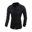 Zogaa New Men's Wind Coat Fashion Single-breasted Stand Collar