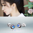 Silverstone Bay Small Bud Moonstone Earrings Natural Fresh S925 a Sterling Silver Jewelry Silver Female Personality Ear