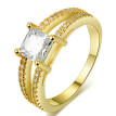 Square Crystal Fashion Wedding & Engagement Women Rings 18K Gold Plated AAA+ CZ Diamond Crystal Ring R543