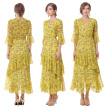 XINUO Womens Dresses Yellow Floral Maxi Dress 3/4 Sleeve V Neck High Waist Chiffon Beach Summer Party Casual Long Dresses