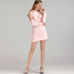 BURDULLY Womens Hooded Dresses Long Sleeve 2018 Pink Fashion Spring Dresses Casual Mini Straight Dress For Office Working