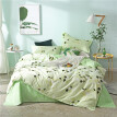 SlowDream Fashion Green Leaf Bedding Set Elegant Duvet Cover Active Printing Set Bed Linen Home Textiles Multi Size 4pcs