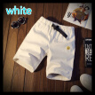 Men's summer pure color loose sports casual pants five points in the pants beach pants Mens Cotton Running Shorts