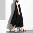 QUZIHUA 2018 New Arrival Black And White Hit Color Stand Collar Sleeveless Loose Summer Women Maxi Dresses