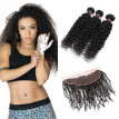 Ishow Hot Selling 7A Ear to Ear Lace Frontal Closure With 3 Bundles Brazilian Virgin Hair Curly Hair With Closure Cheap Human Hair