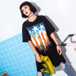 New T-shirt Female Hole O-neck Long Loose Wild Printing T-shirt Plus Size Female Short Sleeves Loose T-shirt