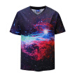 Summer New Top 3D Milky Way Galaxy Print V Neck Short Sleeve Large Size T Shirt Tide Brand Loose Men