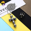Punk Stainless Steel Skeleton Cross Necklaces Big Pendant Vintage Silver Skull Ring for Men Fashion Women Jewelry Sets
