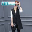 Suit vest female long section 2017 spring and autumn stripes Slim sleeveless spring gas professional suit vest