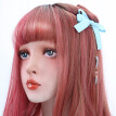 20'' Lolita Cosplay Wig With Bangs Kanekalon Synthetic Hair Red Purple Ombre Natural Wave Party Wigs For Women Heat Resistant
