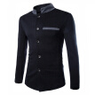 Zogaa Fashion Contrast Color Stand Collar Chinese Tunic Suit Casual Men's Jacket