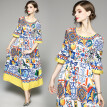 DFYOP New style women's round neck printing, waist and pendulum dress