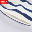 Antarctic cotton pajamas men's couple pajamas short-sleeved trousers can be worn outside pajamas female summer Korean version of the striped home service suit male Tibetan blue stripes XL