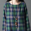 Check Plaid Women Dress Summer Vintage Art Cotton Linen Pocket Loosen Mii Dress