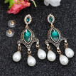 SUNSPICE MS Indian Retro Vintage Bead Drop Earrings Antique Gold Color Big Crystal Boho Long Dangle Wedding Earrings Jewelry New