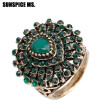Bohemia Ethnic Wedding Rings Full Rhinestone Red Stones Antique Gold Color Indian Vintage Water Drop Resin Women Rings Jewelry