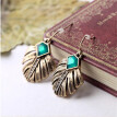 Aiyaya Vintage Leaf Pattern Dangle Earrings Retro Green Stone Earrings Fashion Accessories  for Women