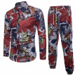 2018 Hot Sale Single Button Full Flowers Button Notched New Styles Chinese Wind Flower Color National Trousers Sets Men's A040