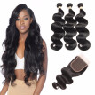 HCDIVA Virgin Hair 3 Bundles With Closure Brazilian Body Wave Human Hair Bundles Plus Closure Free / Middle / Three Part 4 pcs/lot