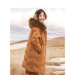 INMAN 2018 winter new INS wind girl heart fur collar hooded slim long down female 18841|21160 caramel color XL