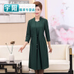 Middle and old aged women's autumn sweater 40-50 years old mother loaded long skirt middle-aged women fake two-piece dress