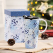 Travel Coffee Ceramic Mug Porcelain Latte Tea Cup With Lid in Gift Box 17oz. Snow Flake Flower, Blue