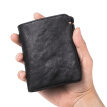 Pabin leather men's wallet short youth card package vegetable head suede leather personality wallet handmade two fold thin wallet vertical mini wallet PB525 black