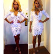 White Lace Crochet Deep V Neck High Waist Tight Wrapped Dress Evening Partywear