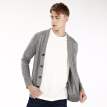J.ZAO Men's merino wool base cardigan light gray XS (165/88A)