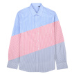 Acacia bird xiangsiniao long-sleeved shirt male striped square collar cotton fashion casual foundation long lining Slim version 2018 autumn new B1 blue 190/104B (43)